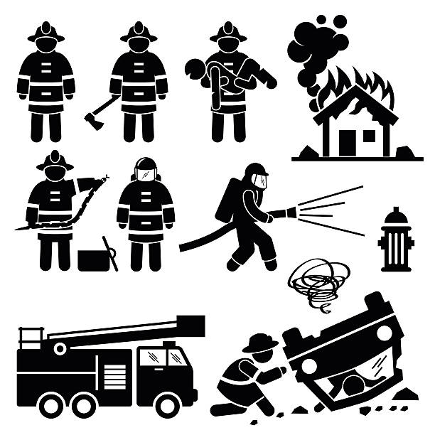Firefighter Fireman Rescue Stick Figure Pictogram Icons vector art illustration