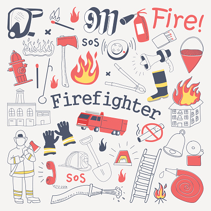 Firefighter Freehand Doodle. Fireman with extinguisher and Equipment Hand Drawn Elements Set