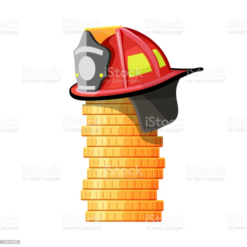 Firefighter hat on stack of coins vector art illustration