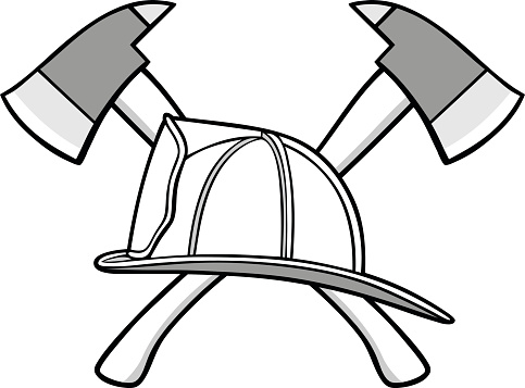 Firefighter Helmet and Axes Illustration