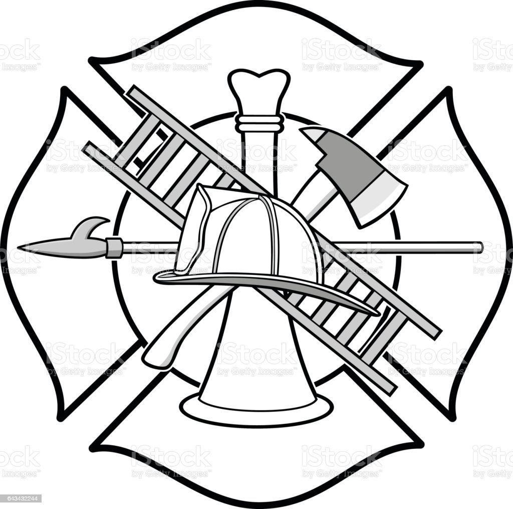 Firefighter Honor Badge Illustration vector art illustration