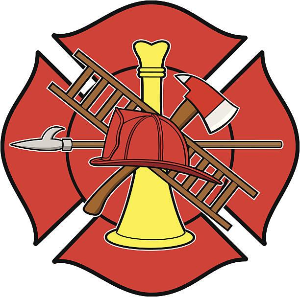 Firefighter Honor Badge Firefighter Honor Badge maltese cross stock illustrations