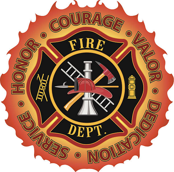 """Firefighter Honor Courage Valor Fire department or firefighter Maltese cross symbol design with flame border encircled by """"Honor, Courage, Valor, Dedication and Service"""". Includes firefighter tools symbol. maltese cross stock illustrations"""