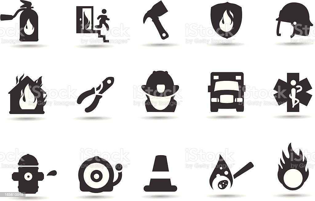 Firefighter Icons royalty-free stock vector art