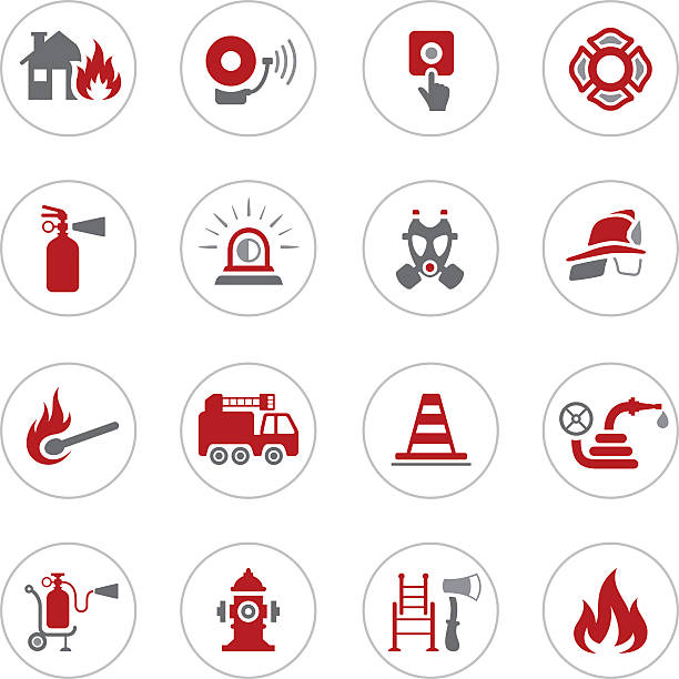 Firefighter Icons High Resolution JPG,CS6 AI and Illustrator EPS 10 included. Each element is named,grouped and layered separately. Very easy to edit. fire hose stock illustrations