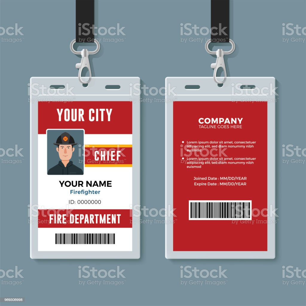 firefighter id badge design template stock vector art more images