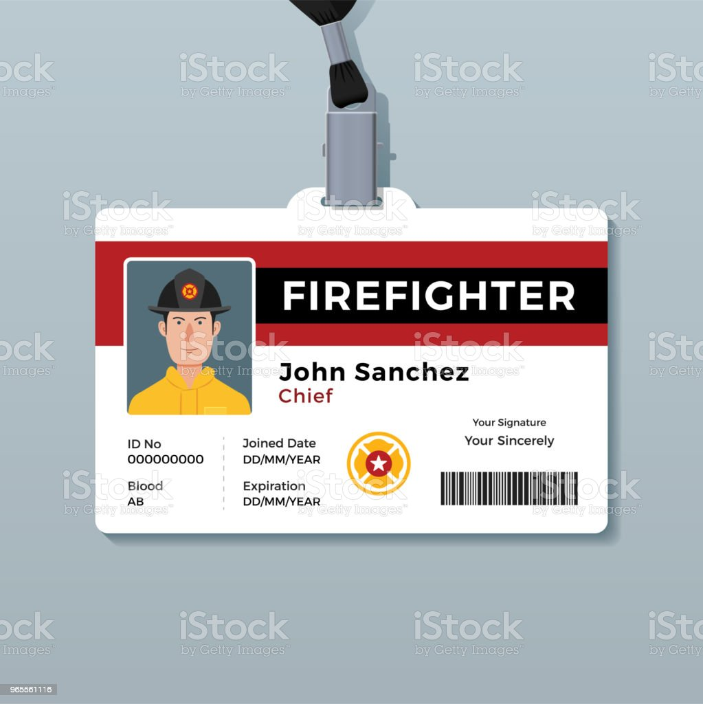 firefighter id badge template royalty free firefighter id badge template stock vector art