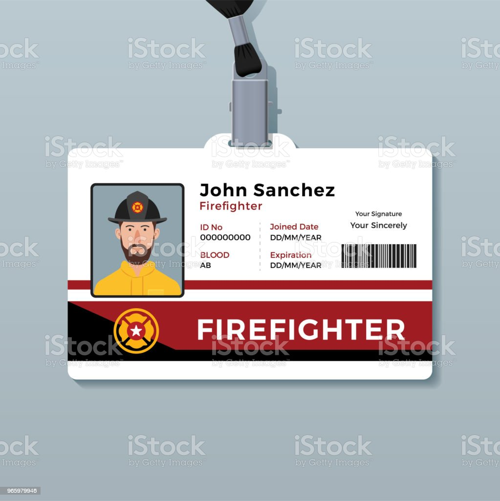 firefighter id card template stock vector art more images of