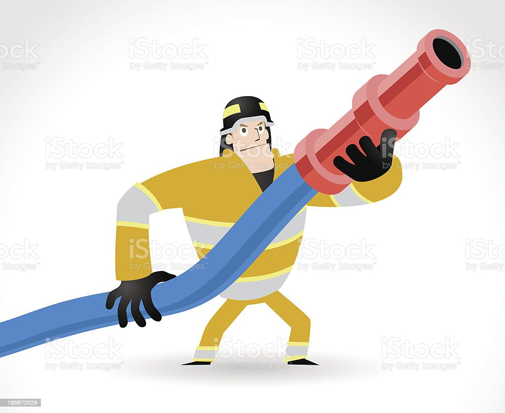 Bombero en acción, retención de la manguera para incendios, listo para pulverización de agua - ilustración de arte vectorial