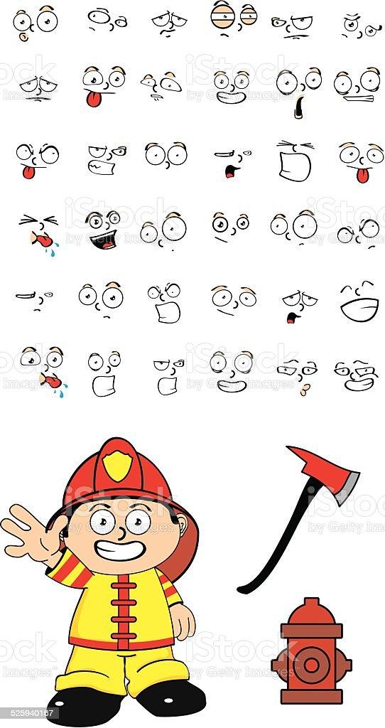 Feuerwehrmann Kid Comic Set6 Stock Vektor Art Und Mehr Bilder Von