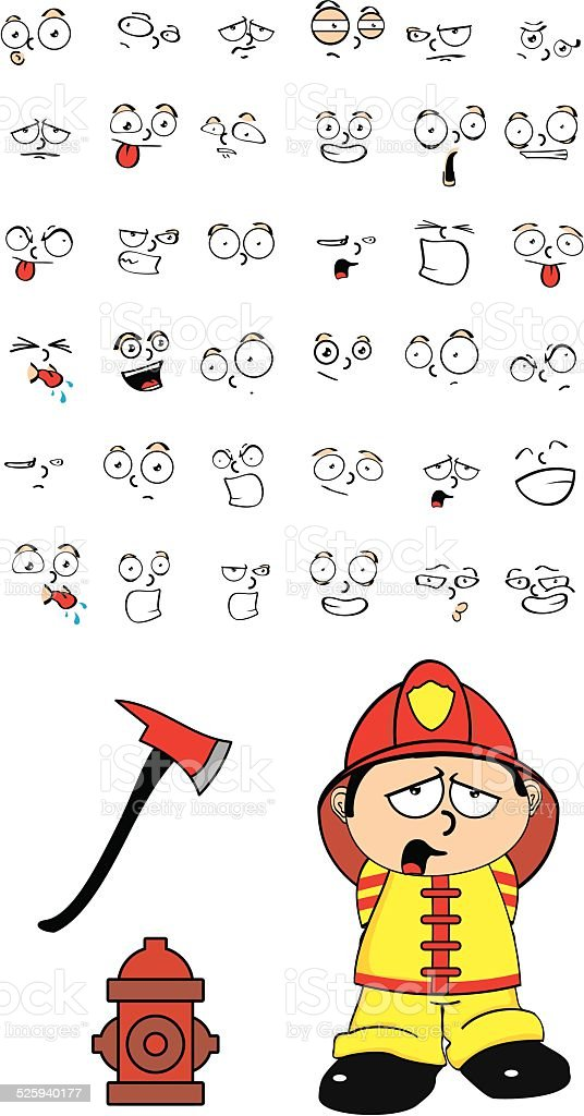 Feuerwehrmann Kid Comic Set7 Stock Vektor Art Und Mehr Bilder Von