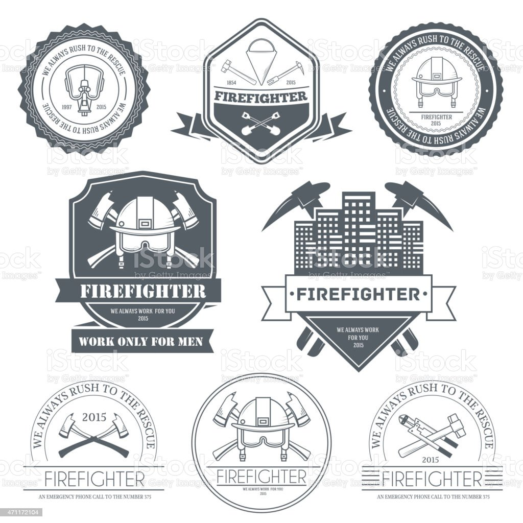 Firefighter Label Template Of Emblem Element For Your Product Royalty Free