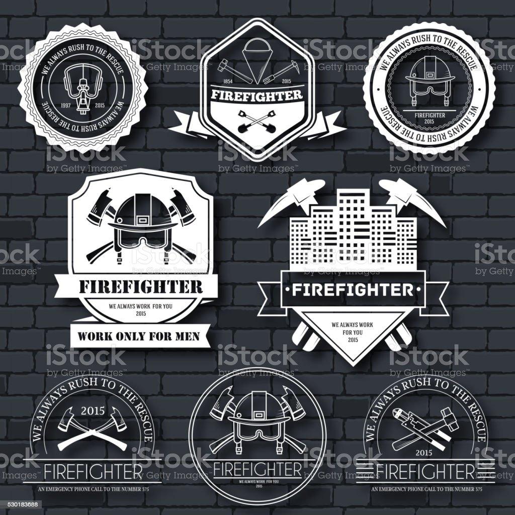 firefighter label template of emblem element stock vector art more