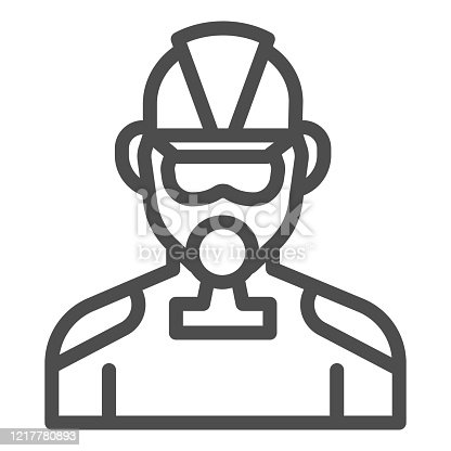 istock Firefighter line icon. Fireman with respirator outline style pictogram on white background. Man in fireman uniform and gas mask for mobile concept and web design. Vector graphics. 1217780893