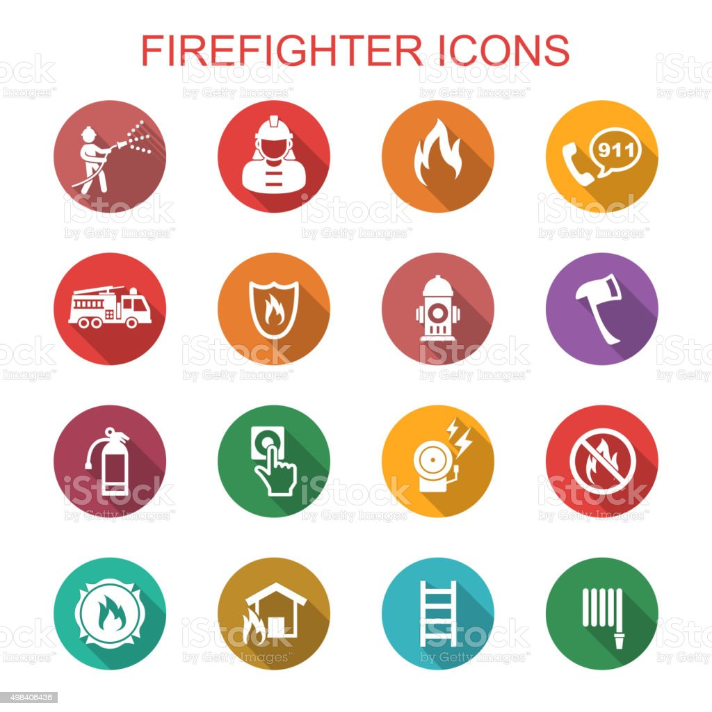 firefighter long shadow icons vector art illustration