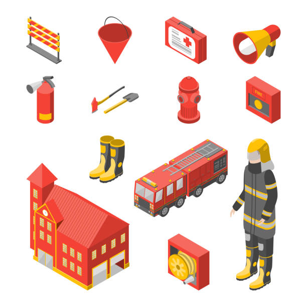 Firefighter Man and Equipment Icons Set Isometric View. Vector Firefighter Man and Equipment Icons Set Isometric View Include of Hose, Extinguisher, Hydrant, Truck and Alarm. Vector illustration emergency equipment stock illustrations
