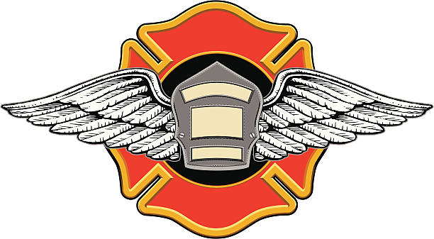 Firefighter Memorial Design Illustration of a firefighters badge or shield with wings on a firefighters cross with space for your text. maltese cross stock illustrations