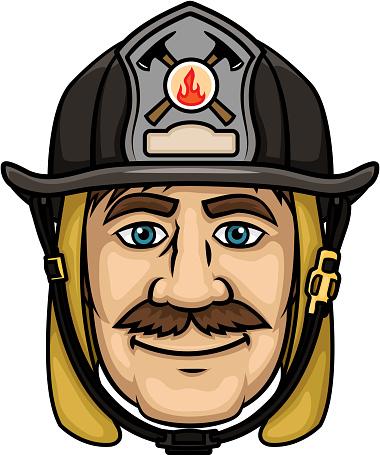 Firefighter or fireman in protective helmet