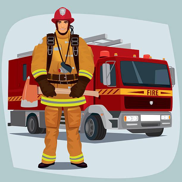illustrations, cliparts, dessins animés et icônes de firefighter or fireman with fire truck - pompier