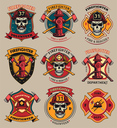 Firefighter patches set