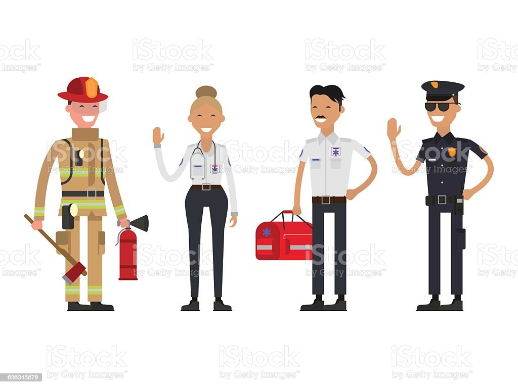 Firefighter, policeman and paramedic vector art illustration