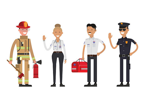 firefighter, policeman and paramedic - 救急救命士点のイラスト素材/クリップアート素材/マンガ素材/アイコン素材