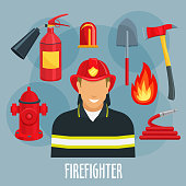 Firefighter profession icon of fireman in uniform