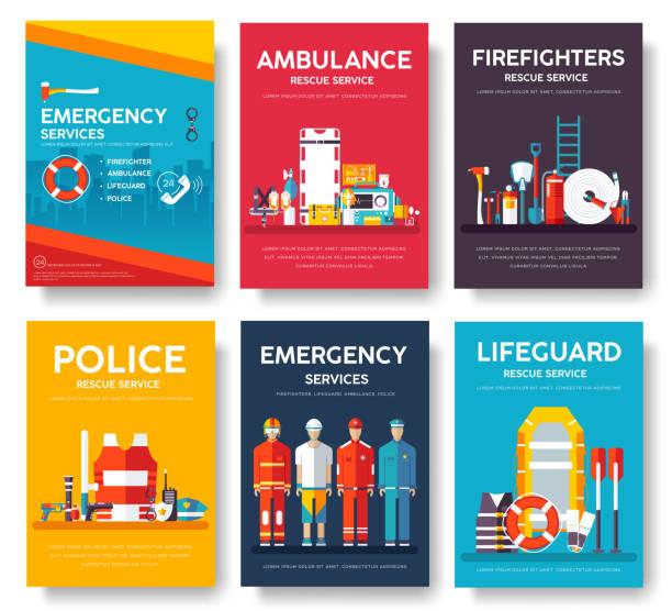 소방 관, 래프팅, 경찰, 의학 구조 카드 템플릿 세트. 전단지, 잡지, 포스터, 책 표지, 배너의 평면 디자인 아이콘입니다. 타이포 그래피 배경이 있는 응급 서비스 레이아웃 개념 페이지 - first responders stock illustrations