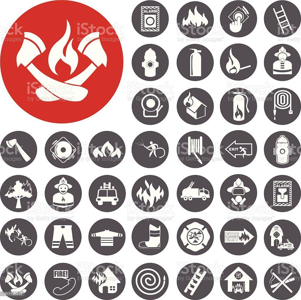 Feuerwehr Symbole set.  Vektor-Illustration eps10 – Vektorgrafik