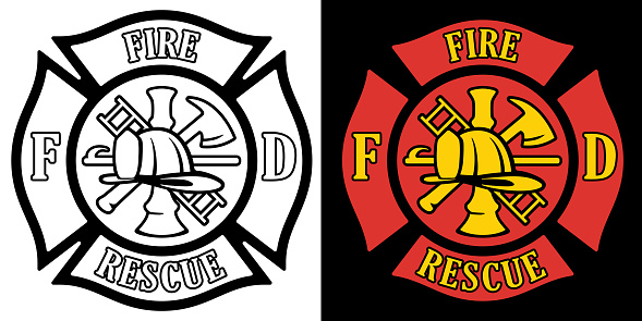 Firefighter Rescue Maltese Florian Cross in both Black Line Art and Red and Gold Color Isolated Vector Illustration