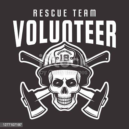 Firefighter skull in helmet with inscription volunteer rescue team vector emblem, label or t-shirt print isolated on dark background