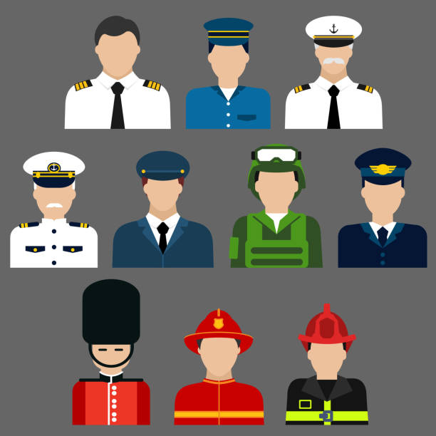 Firefighter, soldier, pilot and captains avatars Flat icons of professions avatars of firefighter, soldier, pilot , security and ship captain with men in professional uniform and caps military uniform stock illustrations