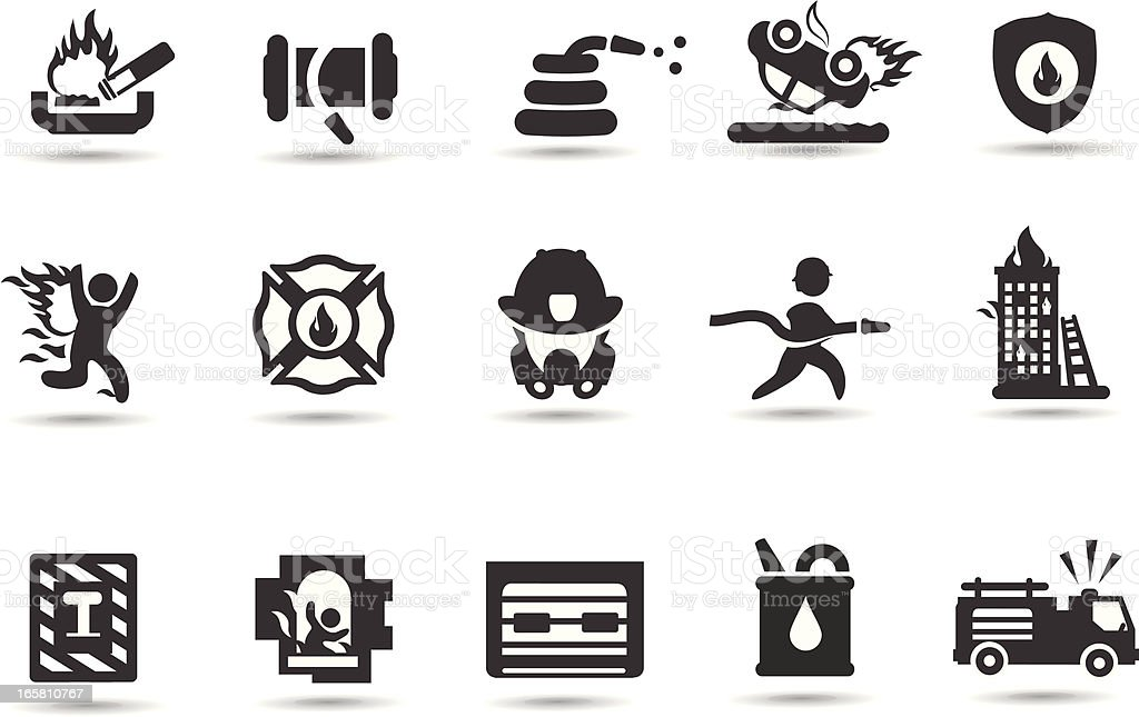 Firefighter Symbols vector art illustration