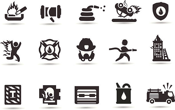 Firefighter Symbols Firefighter icons part II.  Professional Vector Icons with High resolution jpeg and transparent PNG file.    fire hose stock illustrations