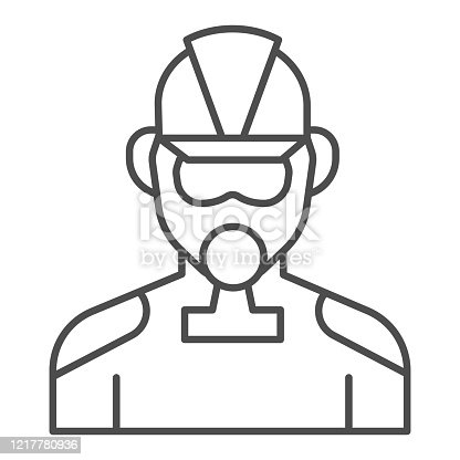 istock Firefighter thin line icon. Fireman with respirator outline style pictogram on white background. Man in fireman uniform and gas mask for mobile concept and web design. Vector graphics. 1217780936