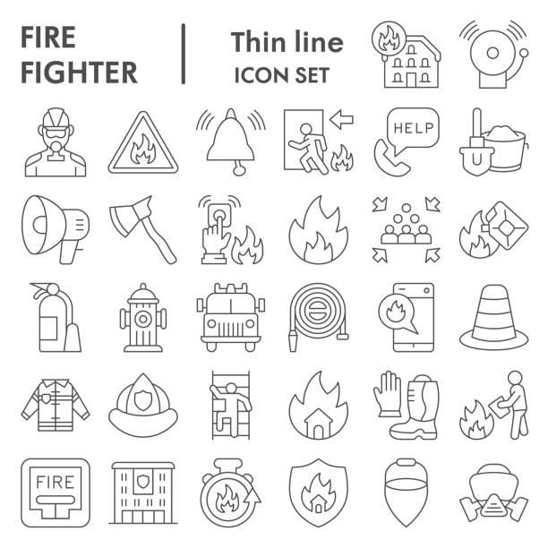 소방관 얇은 선 아이콘 세트, 화재 안전 기호 세트 컬렉션 또는 벡터 스케치. 컴퓨터 웹에 대한 설정 화재 서비스 표지판, 흰색 배경에 격리 선형 픽토그램 스타일 패키지, eps 10. - 모자 모자류 stock illustrations