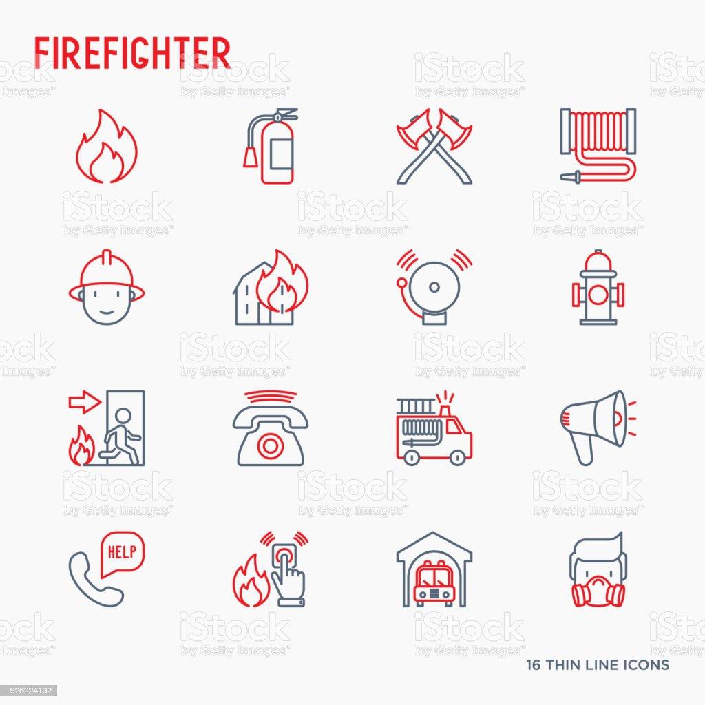 消防士の細い線アイコンを設定: 火災、消火器、軸、ホース、消火栓。モダンなベクター イラストです。 ベクターアートイラスト