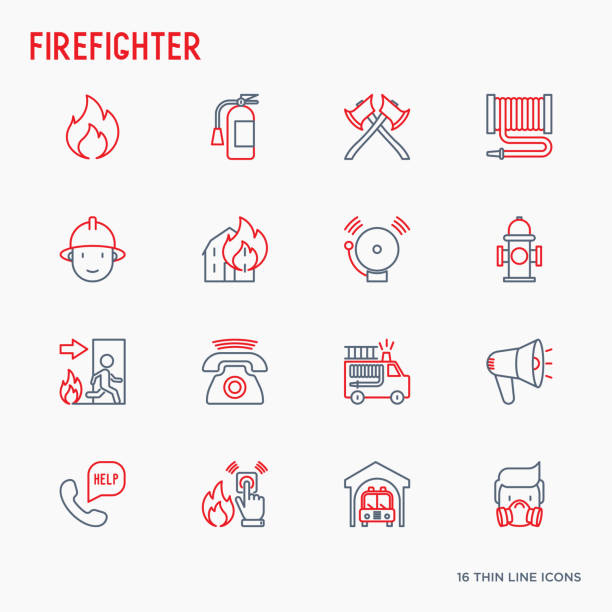 Firefighter thin line icons set: fire, extinguisher, axes, hose, hydrant. Modern vector illustration. Firefighter thin line icons set: fire, extinguisher, axes, hose, hydrant. Modern vector illustration. fire hose stock illustrations