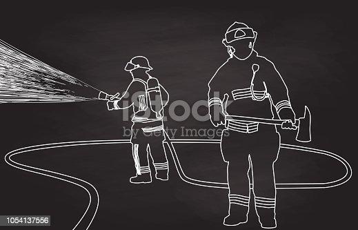 Firemen testing their equipment