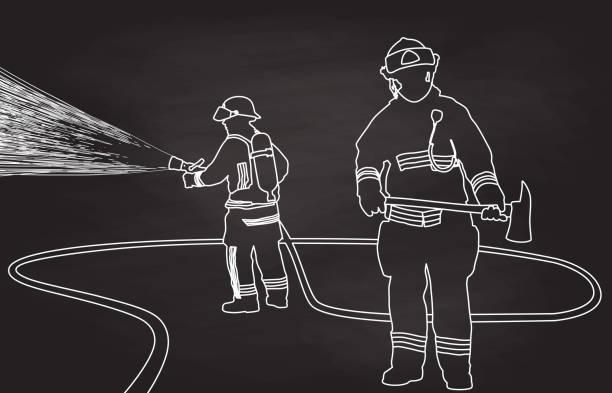 ilustraciones, imágenes clip art, dibujos animados e iconos de stock de hacha y formación manguera de bombero - bombero