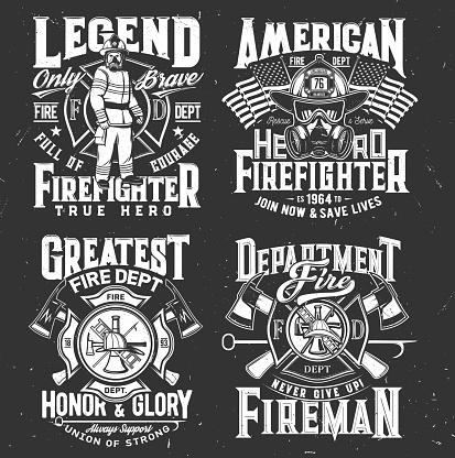 Firefighter t-shirt print, firefighting department