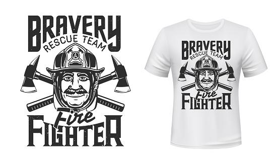 Firefighter t-shirt print of fireman, helmet, axes