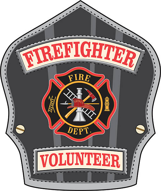 Firefighter Volunteer Badge Illustration of a volunteer firefighter's or fireman's shield or badge with a Maltese cross and firefighter tools logo. maltese cross stock illustrations