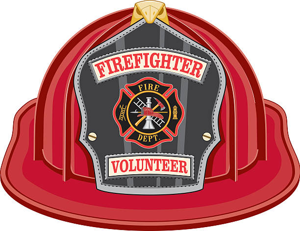 Firefighter Volunteer Red Helmet Firefighter Volunteer Red Helmet is an illustration of a red firefighter helmet or fireman hat from the front with a shield, Maltese cross and firefighter tools logo. maltese cross stock illustrations