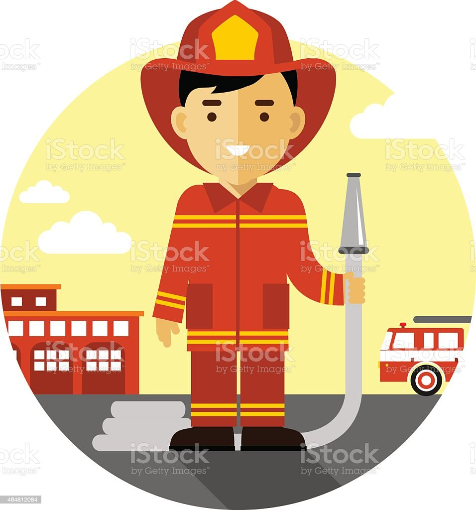 Firefighter with fire hose in flat style vector art illustration