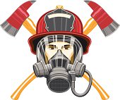 Firefighter with Mask and Axes