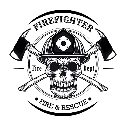 Firefighter with skull vector illustration. Head of character in helmet with crossed axes. Rescue concept for firefighting or fire department emblem template
