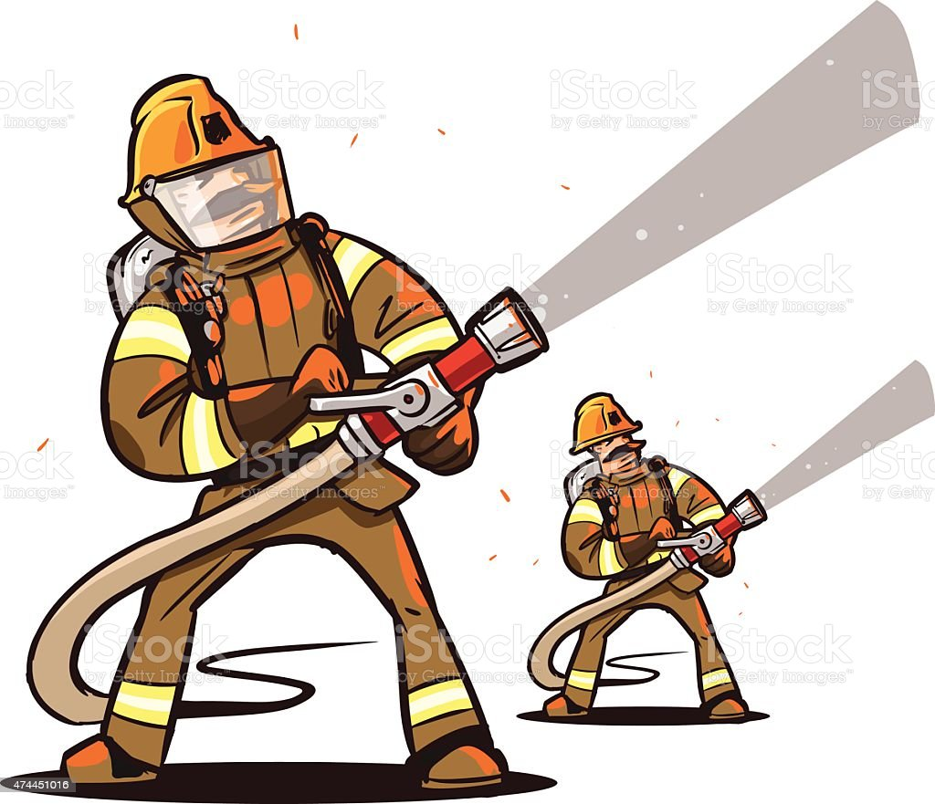 firefighter with the hose vector art illustration