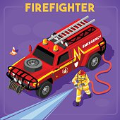 Firefighters with Hydrant Set 01. Interacting People Unique Isometric Realistic Poses. NEW bright palette 3D Flat Vector Icon Set Illustration