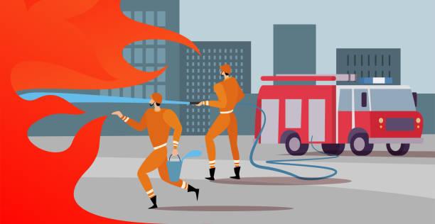 stockillustraties, clipart, cartoons en iconen met brandweerlieden zijn op de missie blussen de blaze, met een hulp van fire engine redden brandende wolkenkrabbers. brandweerlieden werken - illustraties van bosbrand
